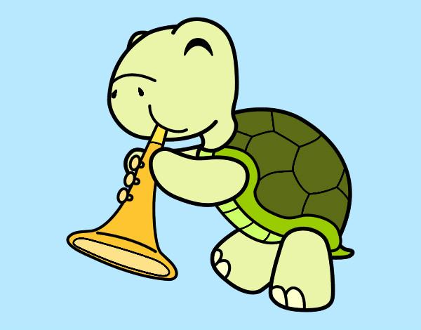 tartaruga-com-trombeta-musica-pintado-por-aaaaaaaahh-1055875