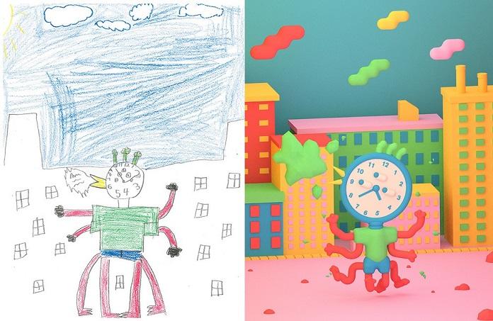 Artistas recriam desenhos de monstros feitos por crianças, de forma criativa e autoral